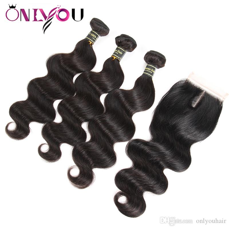 Wholesale Peruvian Virgin Body Wave Hair Weaves Closure with 3 Bundles Wet and Wavy Body Weave Hair Extenisons Peruvian Human Hair Bundles
