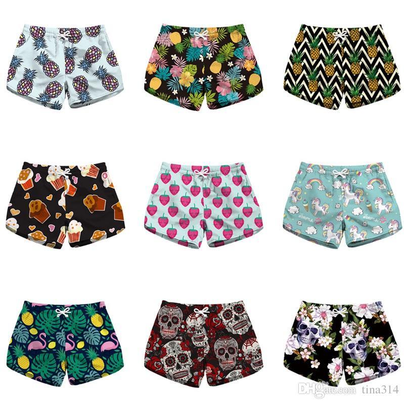 Großhandel Damen Strand Shorts Schwimmen Hot Pants Hawaiian Sommer  Blumendruck Frauen Shorts Casual Surf Board Shorts 53 Arten T2B127 Von  Tina314, ... ef8b679209