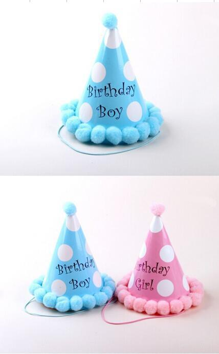 Children Happy Birthday Party Supplies Kids Hat Dot BLUE PINK Carton Paper Cap Adult Hats From Galry 2054