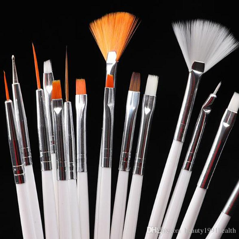 المهنية الاكريليك مسمار الفن فرشاة مجموعة تصميم لوحة التنقيط القلم الأبيض فن الأظافر الوردي فرش قلم جل البولندية فرش الأظافر الزائفة