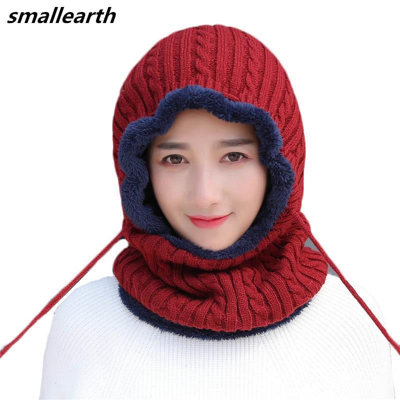 2019 Fashion Autumn Winter Women Men Plus Veet Knitted Hooded Hat Scarf Set  Female Crochet Beanies Hat Boys Thick Warm Cap Scarves From Qingbale b1c11dbaf0dd