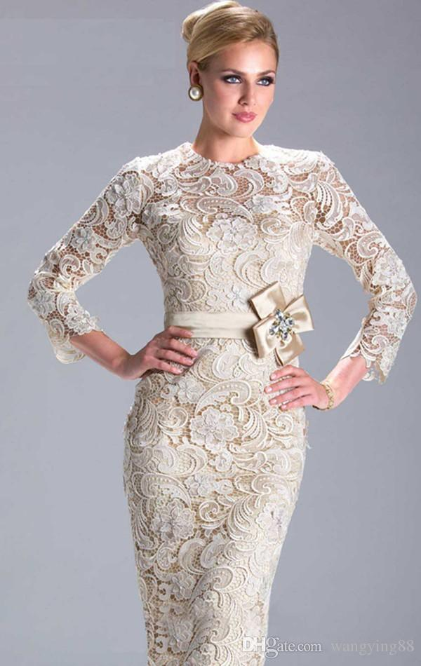 Hot Sale Sheath Champagne Long Sleeve Lace Mother of the Bride gown vestidos de festas 2018 longo prom dress