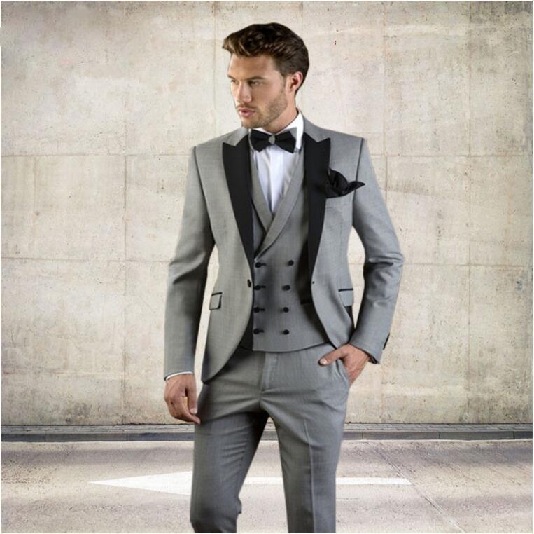 Acheter Gris Hommes Costume Slim Fit Veste Avec Tuxedo Noir Custom Made  Blazer Mariage Groom Costumes 2018 Mariage Groom Blazer + Pantalon + Gilet  De ... ed6f0453eb4