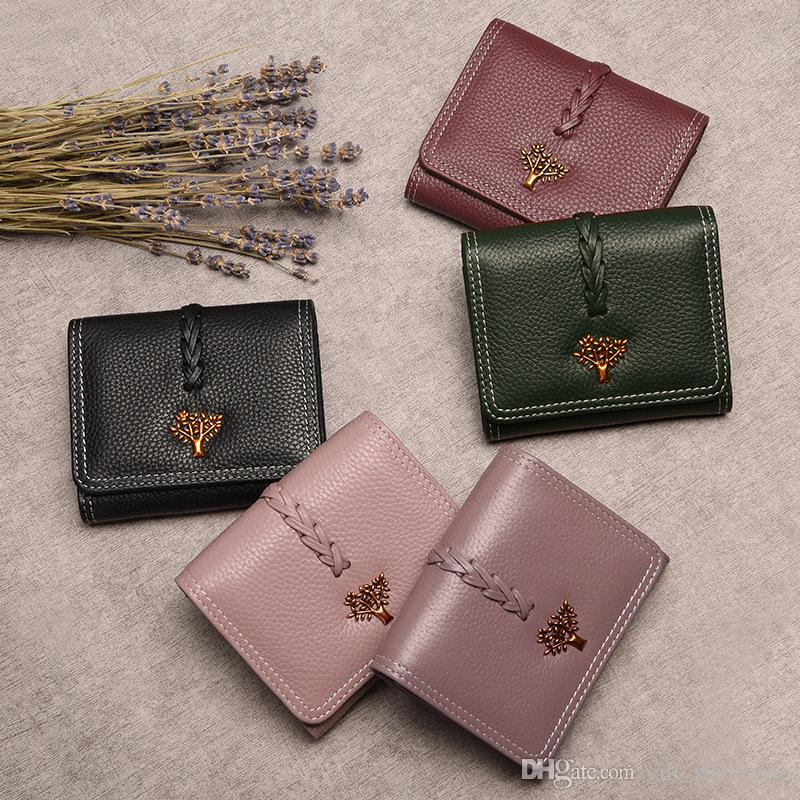 c00c1d288 Compre Mujeres Billetera Life Tree Designer Cuero Genuino Lujo Fashion 100%  Leather Monedero Señora Credit Card Holder Female Wallet A $17.26 Del ...