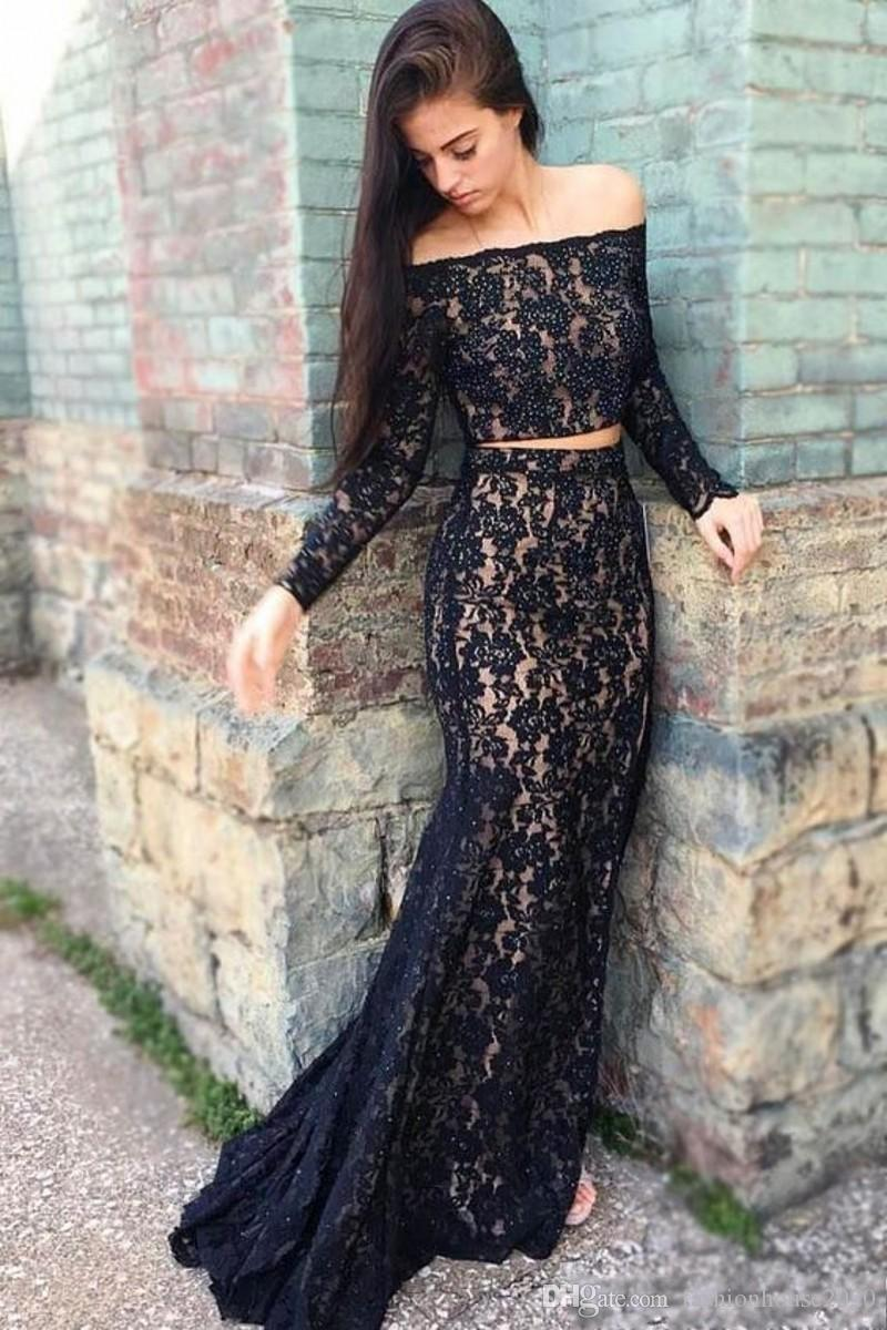 33485acd9b7 2018 Arabic Black Two Piece Mermaid Prom Dresses Off Shoulder Lace Applique  Beading Long Sleeve Sweep Train Evening Gowns Plus Size Party Prom Dress  Formal ...