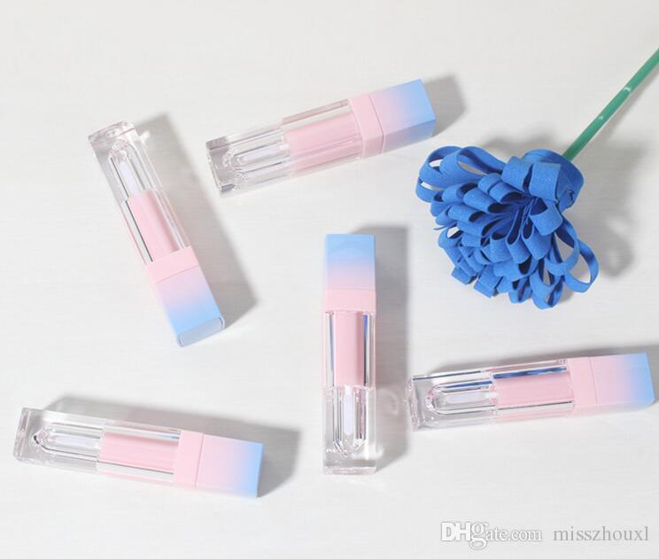 Square Empty Lip Gloss Tube Gradient Pink Blue Plastic Elegant Lápiz labial Líquido Cosmético Contenedores 5ml Muestra