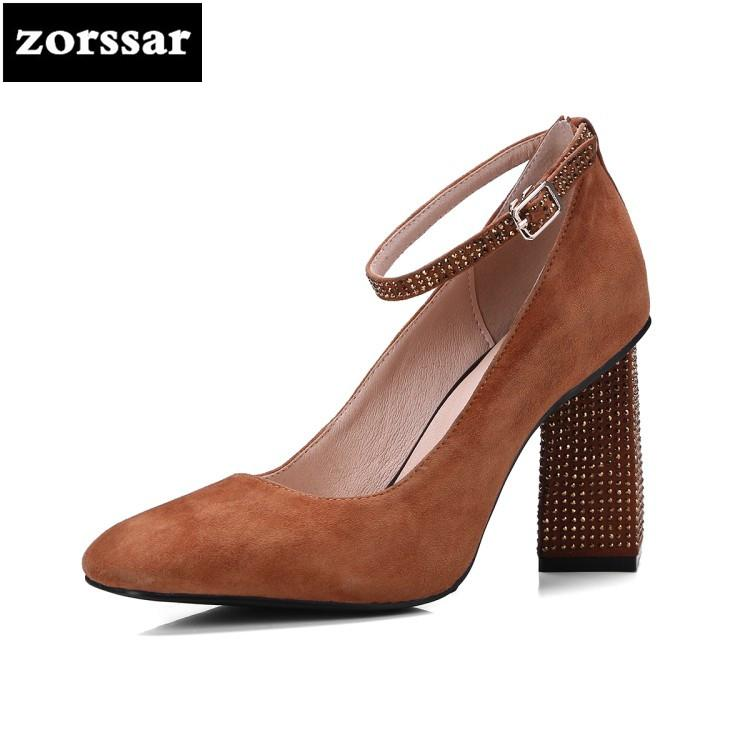10379c49e6a {Zorssar} 2018 Suede Ankle Strap Heels Women Sandals Summer Shoes Women  Pointed toe High Heels Party Dress Sandals Big Size 43