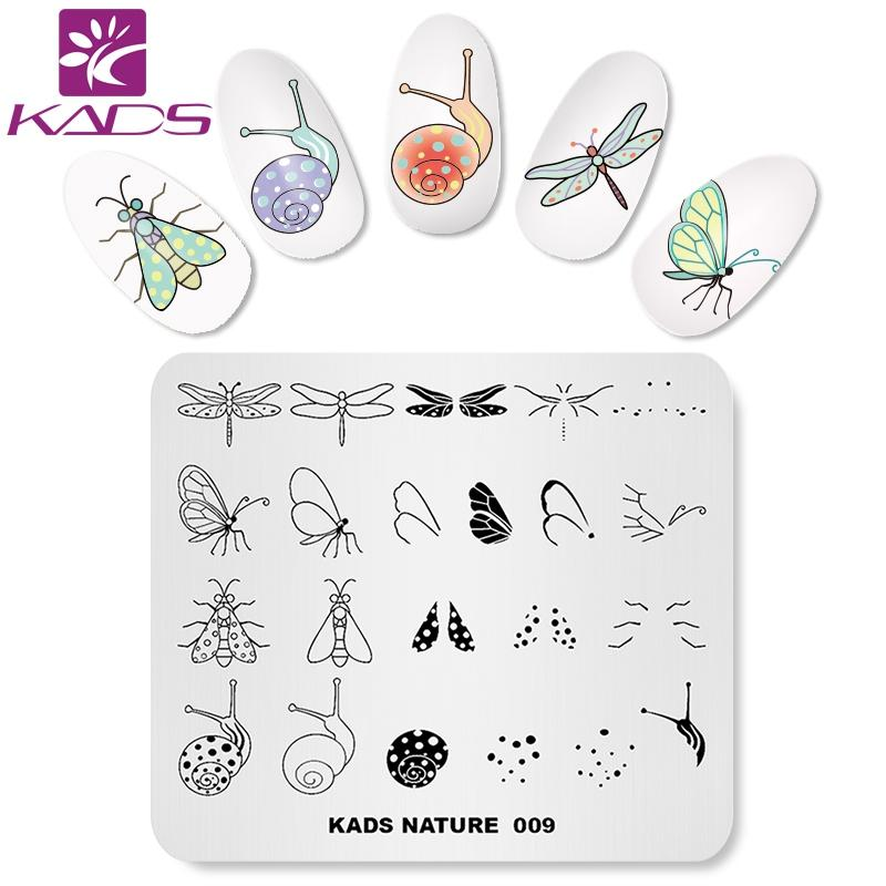 Kads Nature 009 Nail Stamping Plates Butterfly Dragonfly Snail Moth ...
