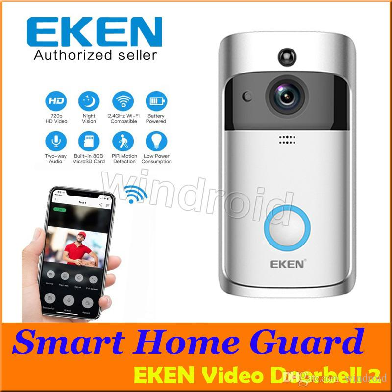 EKEN Smart Video Doorbell 2 720P HD Wifi Security Camera 8GB Real-Time  Night Vision PIR Motion Detection For IOS Android Phone APP Control