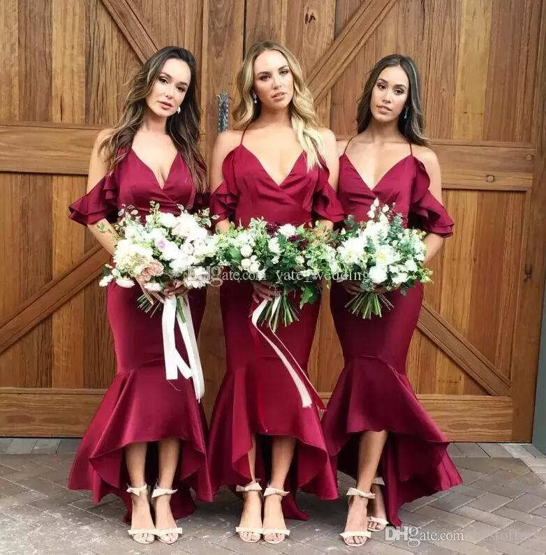 Sexy Hater Straps Mermaid Bridesmaid Dresses 2018 High Low Burgundy Maid Of  Honor Gowns Pretty Wedding Guest Dresses Custom Plum Colored Bridesmaid  Dresses ... 7ffe8ec8b200