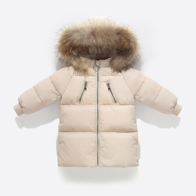 31756a619 White Duck Down Jacket Kids Coat With Colorful Raccoon Fur Real ...