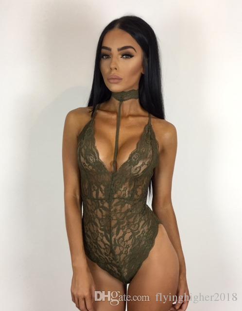 Tulum Mesh Seksi BODYCON tulum Tulumlar Bodysuits tulumları sayesinde Siyah Dantel Halter Sonbahar bodysuit Kadınlar bakın
