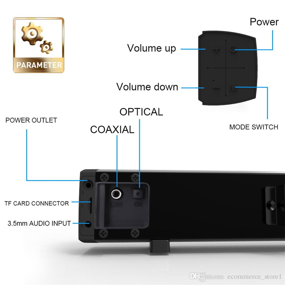 4 TV / PC / 스마트 폰에 대한 TV 무선 스피커 3D 홈 시어터 사운드 시스템 슈퍼베이스 스테레오 서브 우퍼 박스에 대한 * 10W 사운드 바, 원격 제어