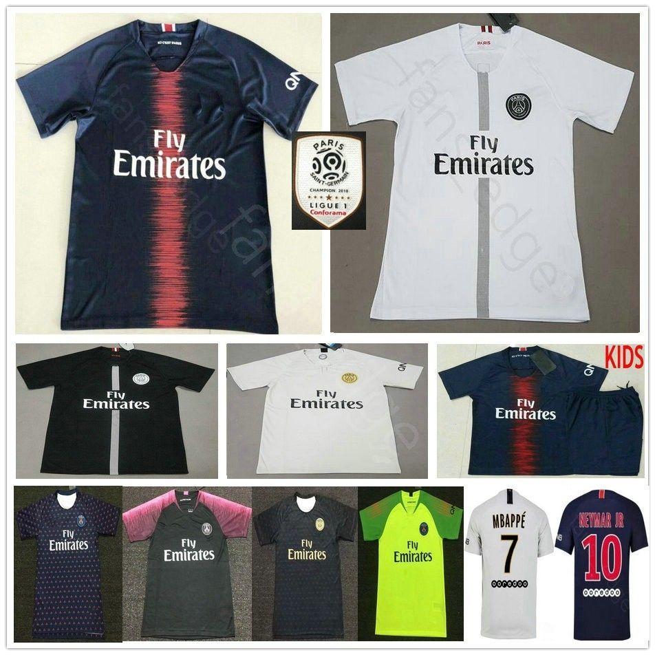 brand new e194c 6f75b PSG soccer jersey 2019 New Third Champions Paris 7 MBAPPE saint germain  NEYMAR JR cavani jerseys 18 19 football shirt men women kids