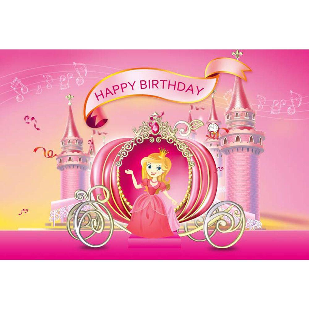 Grosshandel Prinzessin Madchen Alles Gute Zum Geburtstag Hintergrund Rosa Gedruckt Musiknoten Schloss Kutsche Neugeborenes Baby Kinder Party Unter Dem Motto