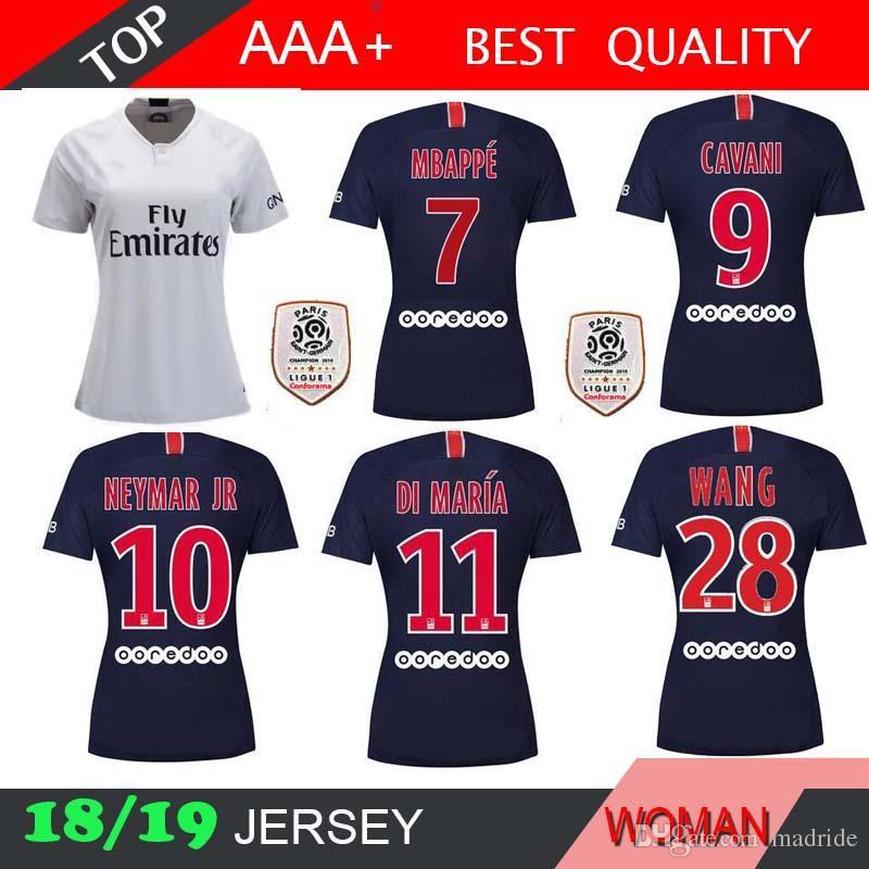 9dab03f77cd 2019 Mbappe 7 Women 2018 2019 Soccer Jersey Home Away CAVANI VERRATTI  PSGEROS LUCAS DI MARIA DANI ALVES 18 19 Jerseys Girl Lady Football Shirts  From Madride ...