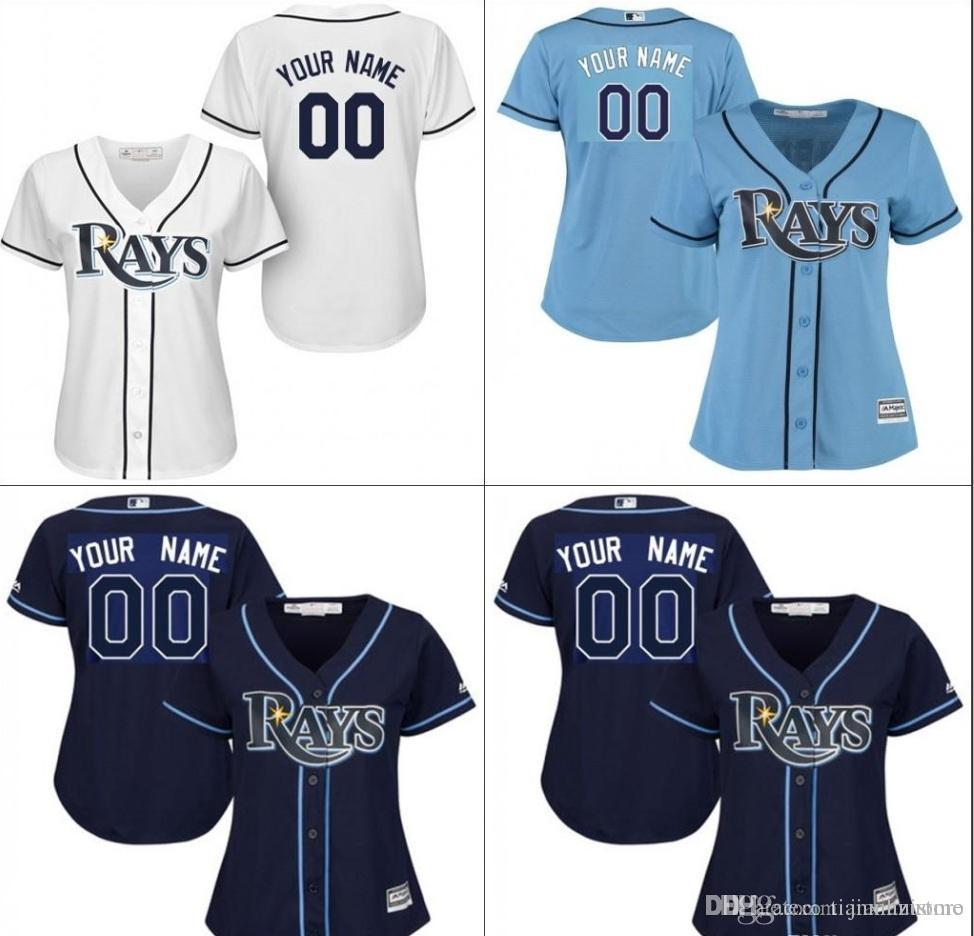 best service 81341 c2a2c custom Authentic Womens Ta By Rays Jersey Personalized Baseball Jersey 100%  stitched Embroidery logos