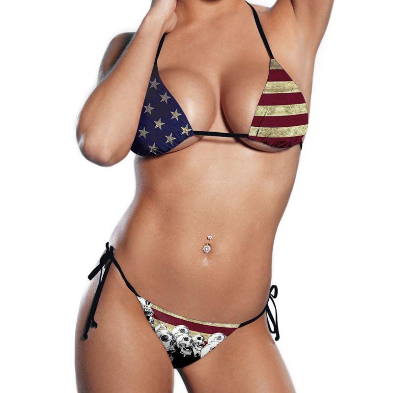 New Sexy Girl Summer American Flag Vintage Skull 3D Prints Thongs Ropes Bikini Set Swimsuit Swimwear Women Bathing Suit