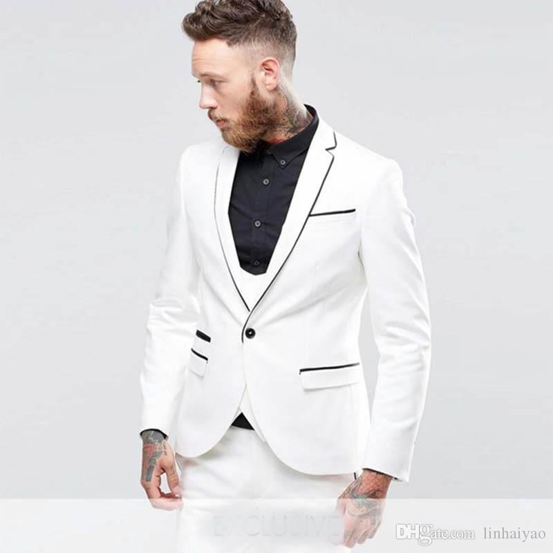 bfe73af6ab Compre Trajes De Hombre Blanco Con Negro Chal Solapa Trajes Para Hombre Con  Pantalones Por Encargo 3 Piezas Traje De Novio Para La Chaqueta 2019 A   71.07 ...