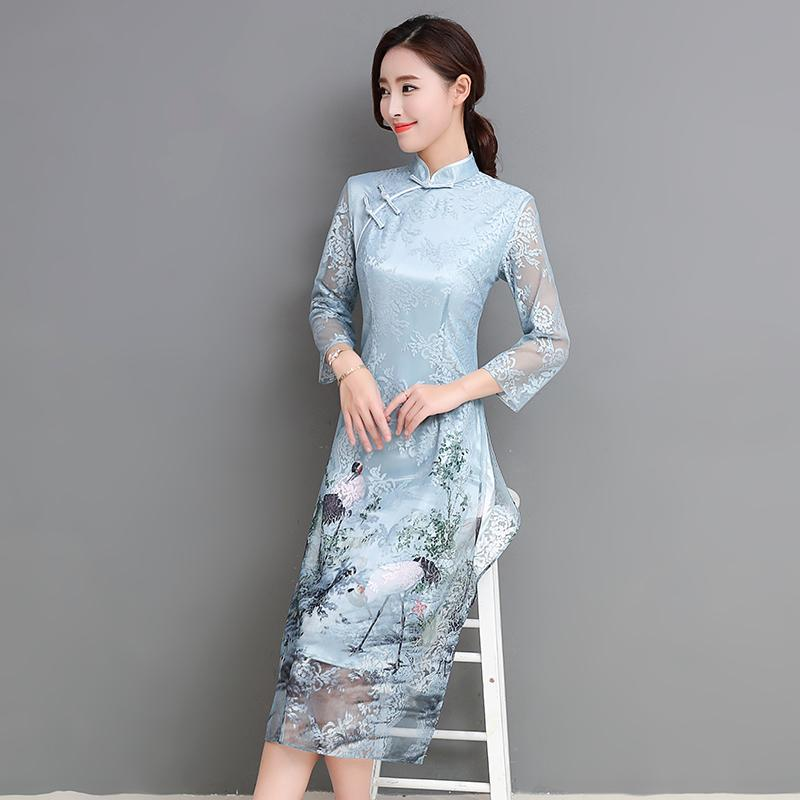 2018 summer asian clothing aodai vietnam cheongsam more feminine dress for women chinese traditional dress