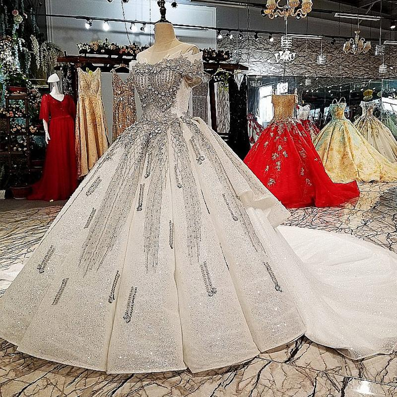 aaf2034c5ea 2019 Glitter Short Sleeve Lace Up Ball Gown Evening Dress With Grey  Decorations O Neck Dubai Tiered Formal Dresses With Long White Train Short  Evening Dress ...