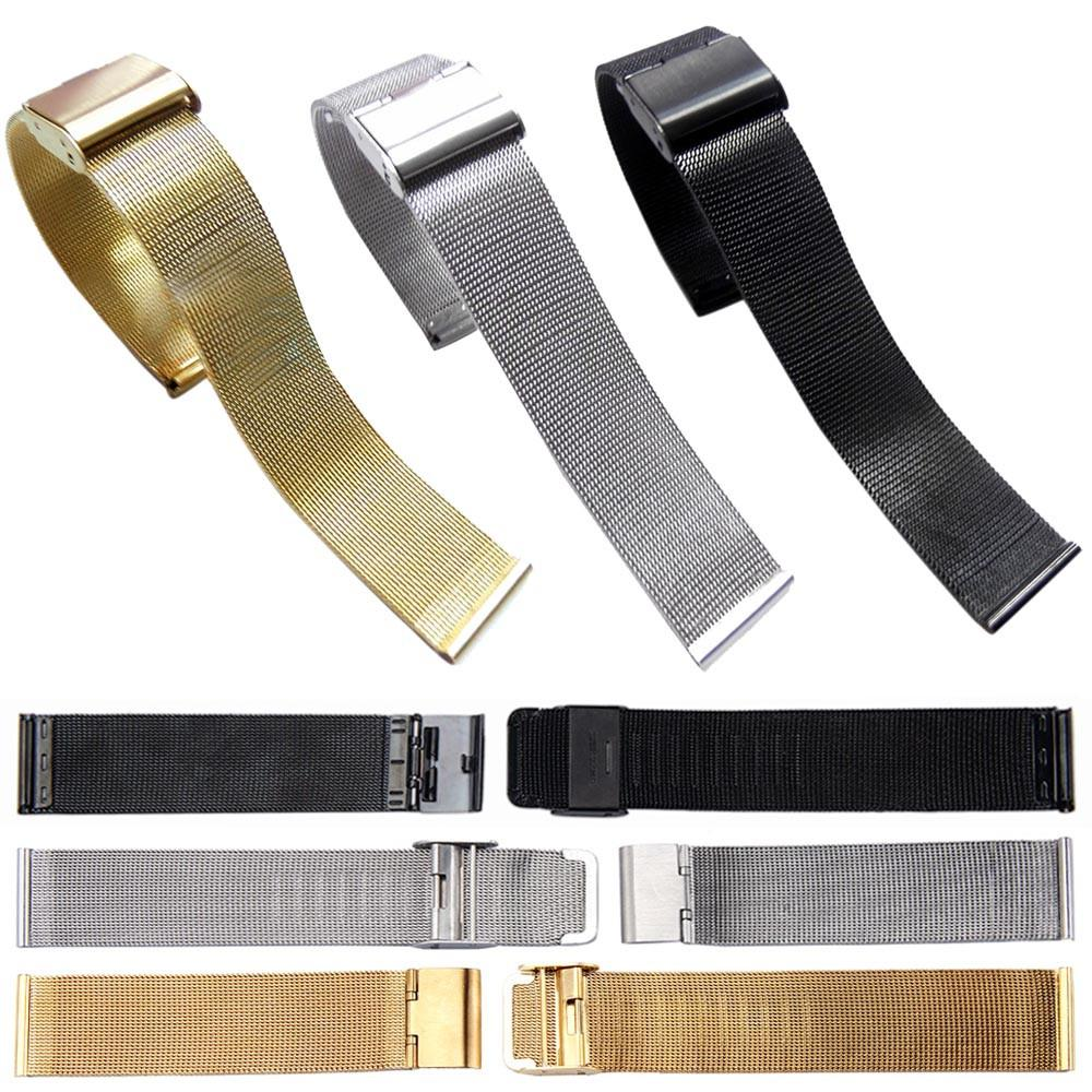 Fashion 24mm Wrist Watch Band Strap Men Black Silver Watch Strap Band Stainless Steel Accessories #A