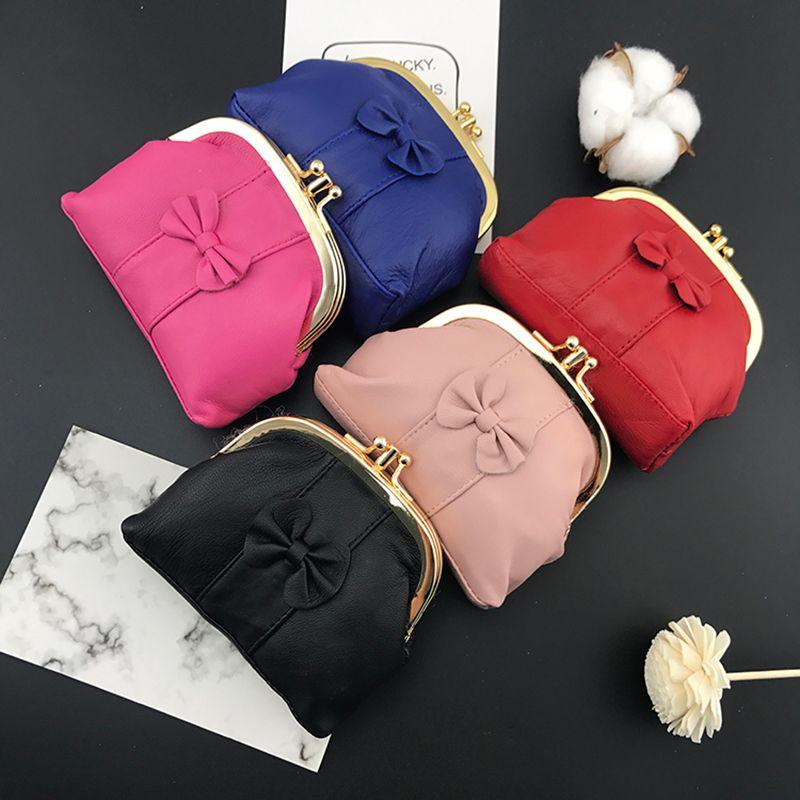 ae8e00db76ca BELLO TUTTI Genuine Leather Bowknot Mini Coin Purse For Women Wallets  Sheepskin Metal Frame Small Change Clutch Zipper Money Bag Handbag Brands Cheap  Bags ...