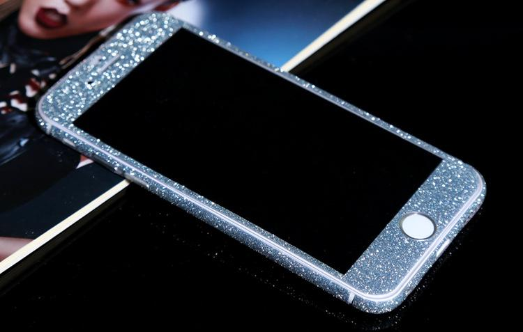 2018 fashion Glitter Bling Shiny Sticker Matte Skin Screen Protector For iphone7 7plus iphone 8 plus 6p/6sp Front+Back decals phone Stickers