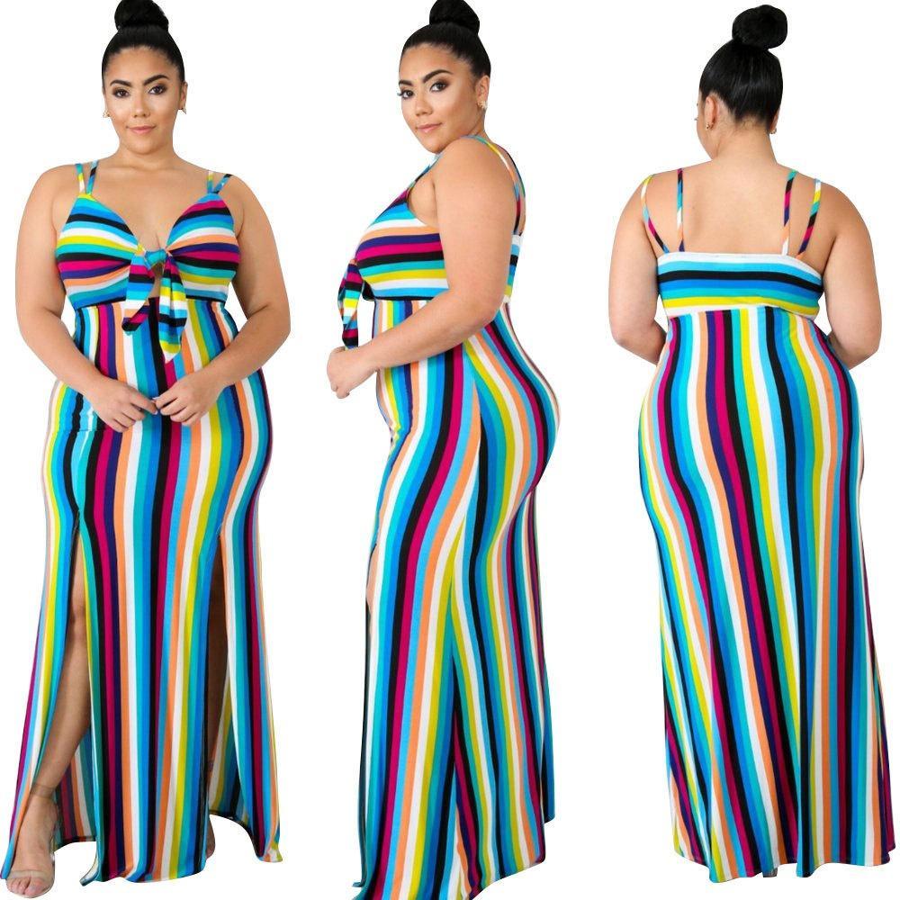 7f818e2559d Women Plus Size Striped Maxi Dresses Elegant Printed Spaghetti Strap  Bandage Wrap Long Dress Casual Side Slit Printed Dress Summer Lace Dress  Black Women ...