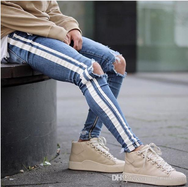 Mens Blue Ripped Holes Jeans Side Striped Skinny Straight