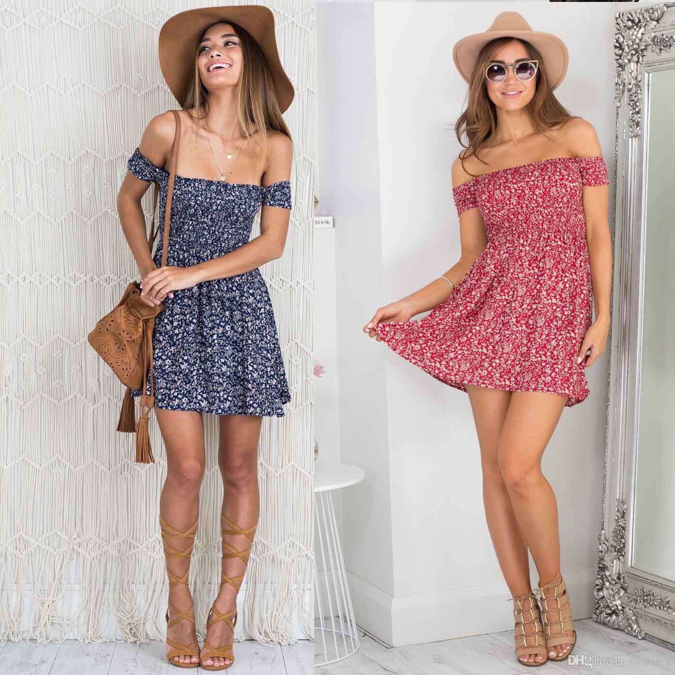 Compre Vestido De Verano De Las Mujeres 2018 Casual Plus Size Beach Party  Holiday Sexy Cuello De Mujer Floral Estampado Floral Elegante A  11.51 Del  ... 827d4d15c6c6