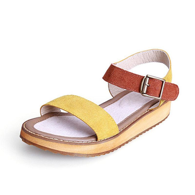 3ee98674132 2018 Female Yellow Summer Sandals Buckle Ankle Strap Cow Suede Leather  Fashion Casual Gladiator Platform Flat Heel Sandals Shoes Women Red Wedges  Summer ...