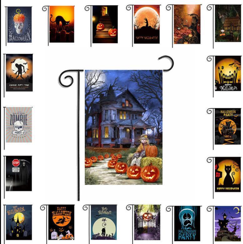 2018 43 Design 30*45cm Halloween Garden Flags Pumpkin Ghost Party Home  Decor Pumpkin Garden Flag Home Yarn Lawn Decor Decoration Kka5637 From ...