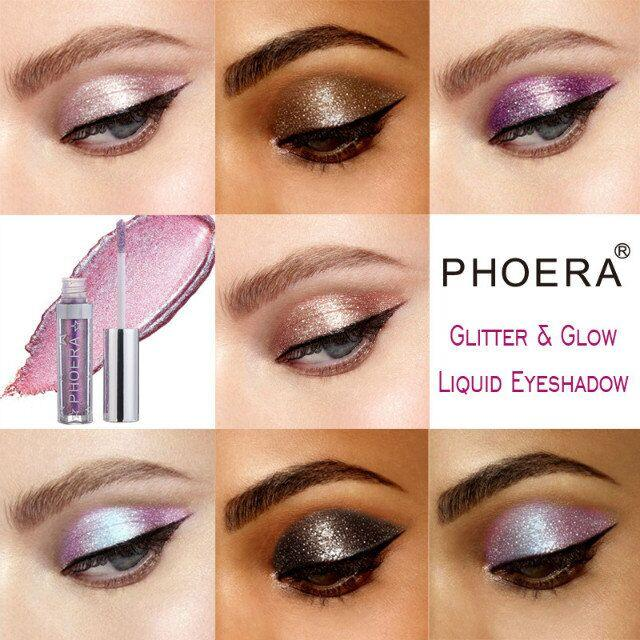 Calidad superior! PHOERA es Liquid Glitter glow Eyeshadow Resaltador impermeable y duradero DHL envío