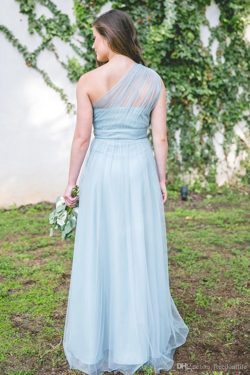 2018 Maxi Dusty Blue Bridesmaid Dresses One Shoulder Floor Length Tulle Maid Of Honor Gowns Forest Wedding Party Wear Cheap Hot Sale