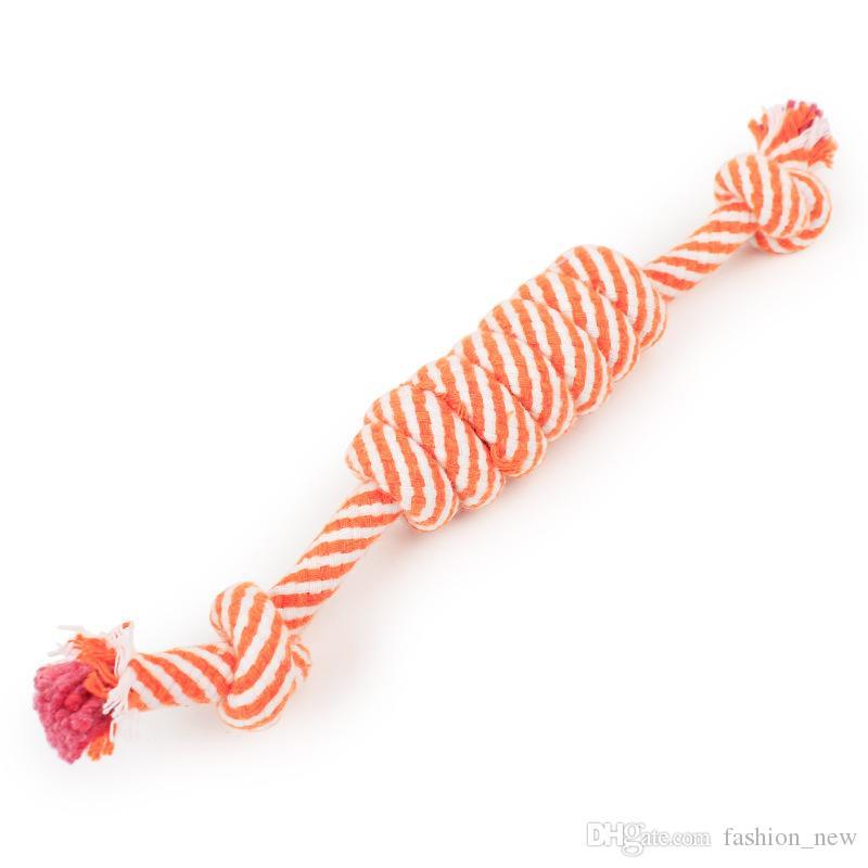 جديد 24 سنتيمتر كلب جرو مضغ القطن حبل الكرة مضفر عقدة لعبة دائمة مزين العظام حبل مضحك أداة dhl