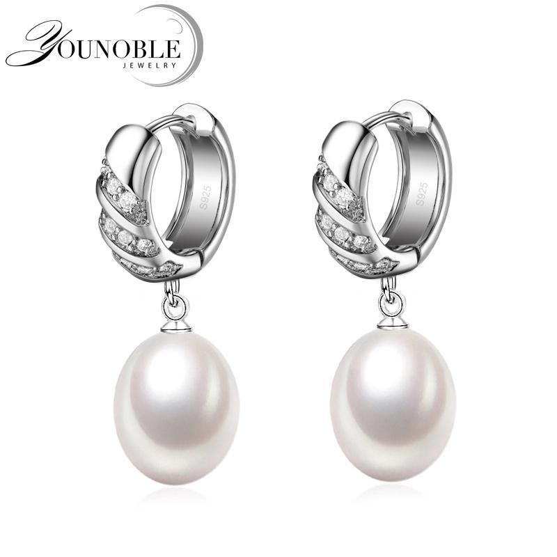 e88d74699c64 Compre Real 925 Plata Negro Perlas Naturales Pendientes Mujeres ...