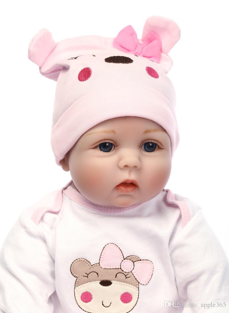 "22""VERY CUTE Lifelike Silicone&Vinyl Reborn Baby Toy / Soft Gentle Touch Cloth Body/Magnetic pacifier/cat clothes"
