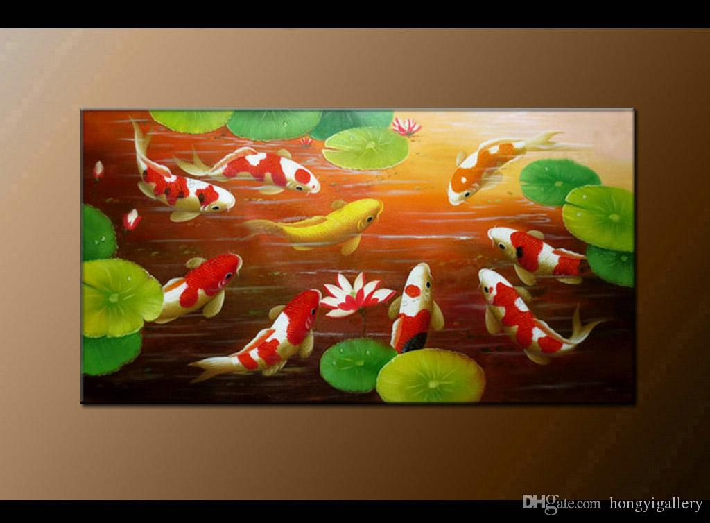 HUGE MODERN ABSTRACT OIL PAINTING Feng Shui Fish Koi Canvas Wall Art Pure  Hand Painted China wind Koi Art Bedroom Home Decoration BDF101