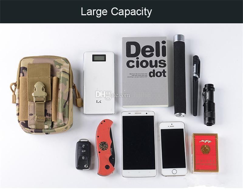 Étui portefeuille sac à main téléphone étui tactique extérieur Holster militaire Molle hanche ceinture sac avec fermeture à glissière pour iPhone / Samsung / LG / SONY