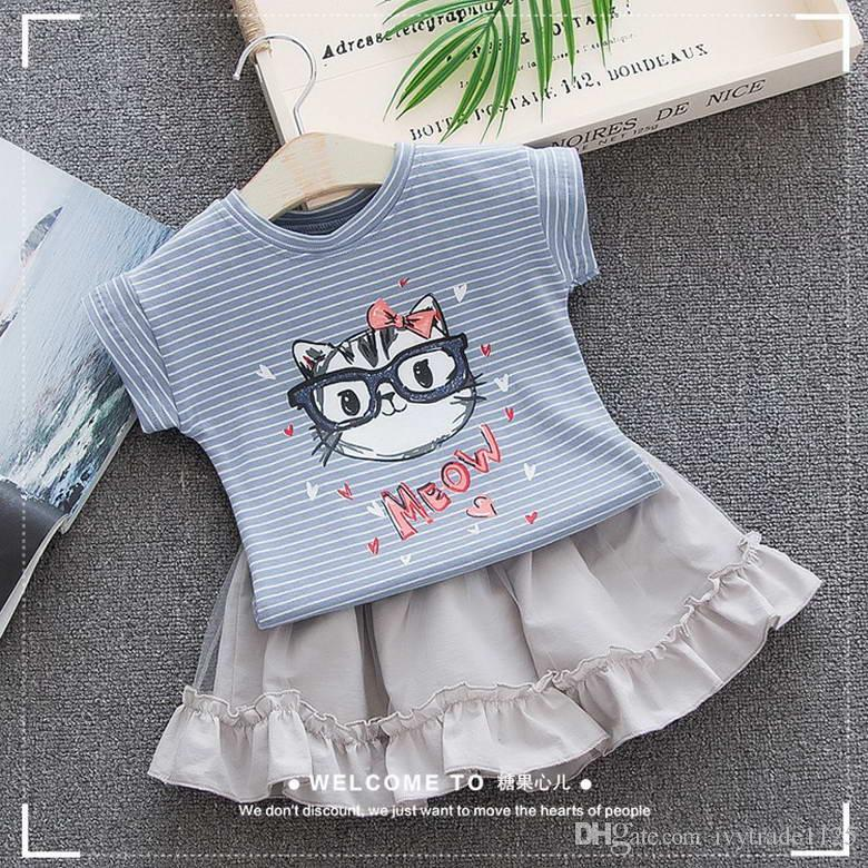 4497c61cce New Girs Kids Clothing 100%Cotton Little Cat Stripped Print Girl s Set  Causal Summer Girl Suspender Shirt+ Skirt Kids Clothing Sets Girl s Set  Kid s Set ...