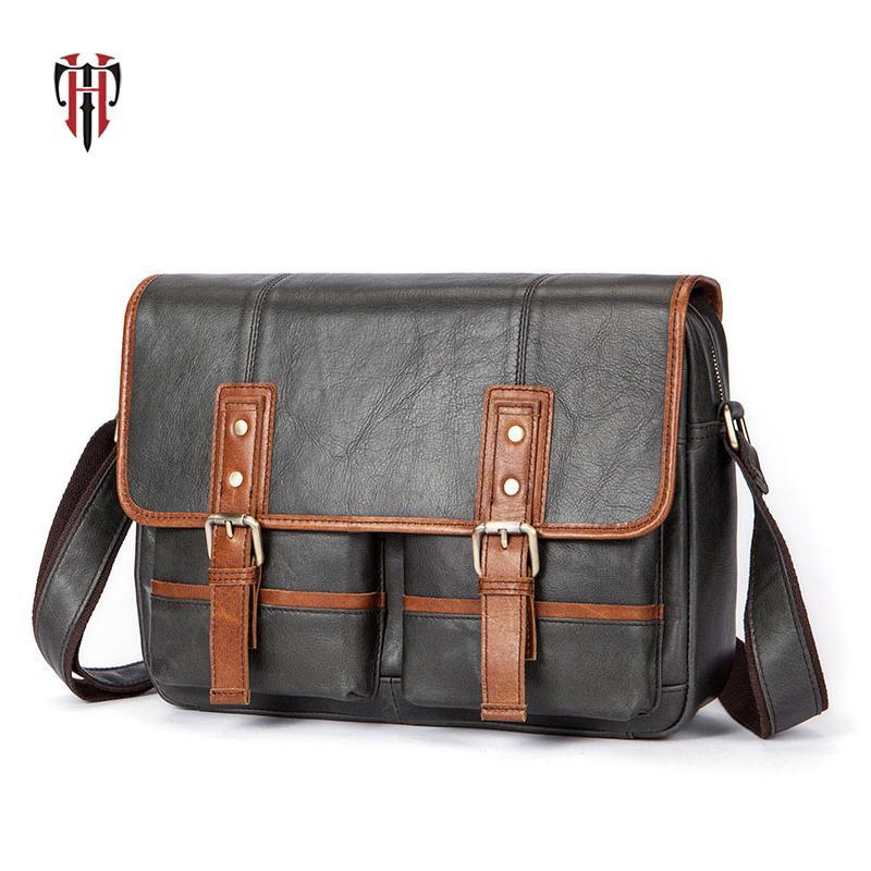 f33ad3a3e5e3 TIANHOO Brand Men s Genuine Leather Shoulder Bag Fashionable Man ...