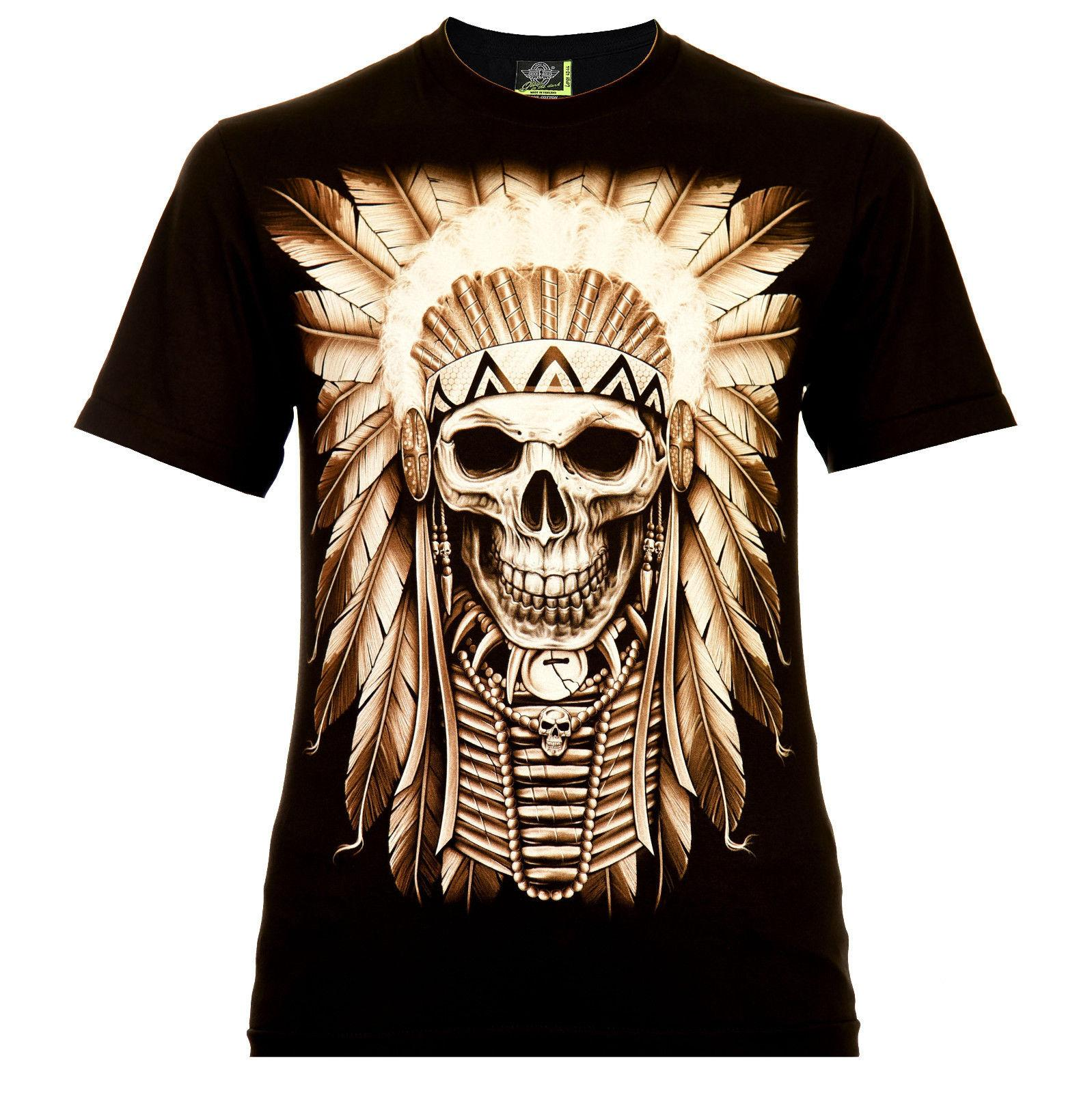 Indigo Happy Death Rock Eagle T Shirt Glow In The Dark Skull