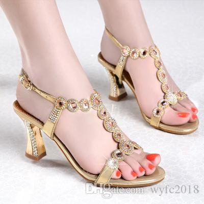 c0974e918415a6 Sandals with Europe United States since New 2018 Summer Shoes Fashion  Diamond Thick with Diamond-encrusted Shoes Sexy in Rome Sandals Pumps Dress  Shoes ...