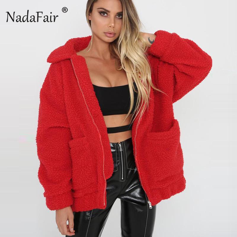 bfd08485f5e Nadafair Plus Size Fleece Faux Shearling Fur Jacket Coat Women Autumn  Winter Plush Warm Thick Teddy Coat Female Casual Overcoat C18110601 Women  Leather ...