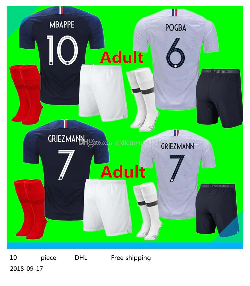 b3d16862302 2 Stars French Adult Kit Pogba Soccer Jersey 2018 World Cup PAYET ...