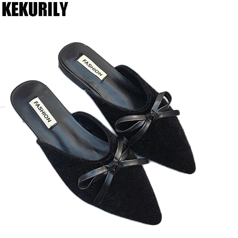 38cb903fa Shoes Woman Bow Slides Slippers Sexy Leopard Mule Ladies Low Heel Pointed  Toe Sandals Zapatos Mujer Loafers Flip Flops Black Womens Shoes Desert  Boots From ...