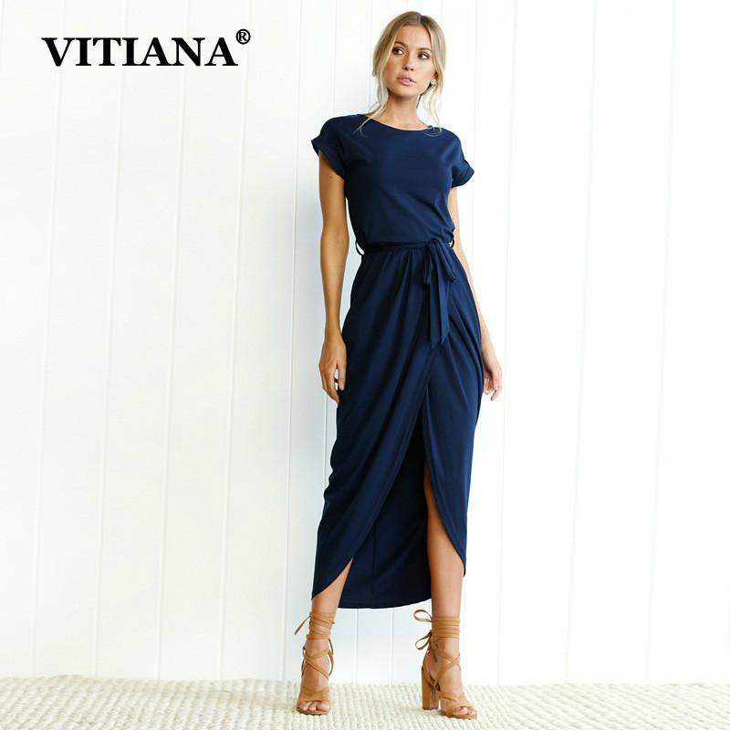 293ec8c30ea VITIANA Women Plus Size XS 3XL Casual Long Dress Female 2018 Summer Elegant  Short Sleeve Belt Midi Loose Party Dresses Vestidos D1891704 Party Long  Dresses ...