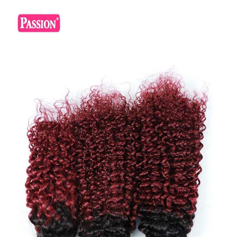Brasilianisches Ombre Menschenhaar 3 Bundles Two Tone 1B / 99j Burgund Verworrene Lockige Menschenhaar-Webart Farbige Brasilianische Haarverlängerungen