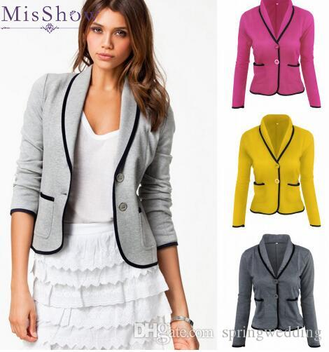 2018 Women Autumn Long Sleeve Plus Size Basic Jacket Coat Knitted Outwear  Two Button Coats Casual Work OL Office Tops S 6XL FS5629 Quilted Jackets  Sweater ... 790c49431cde